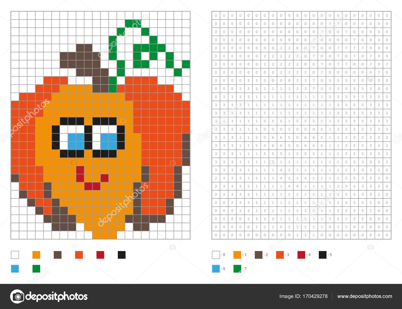 kleurplaten pagina pixel kleuren met grappige pompoen