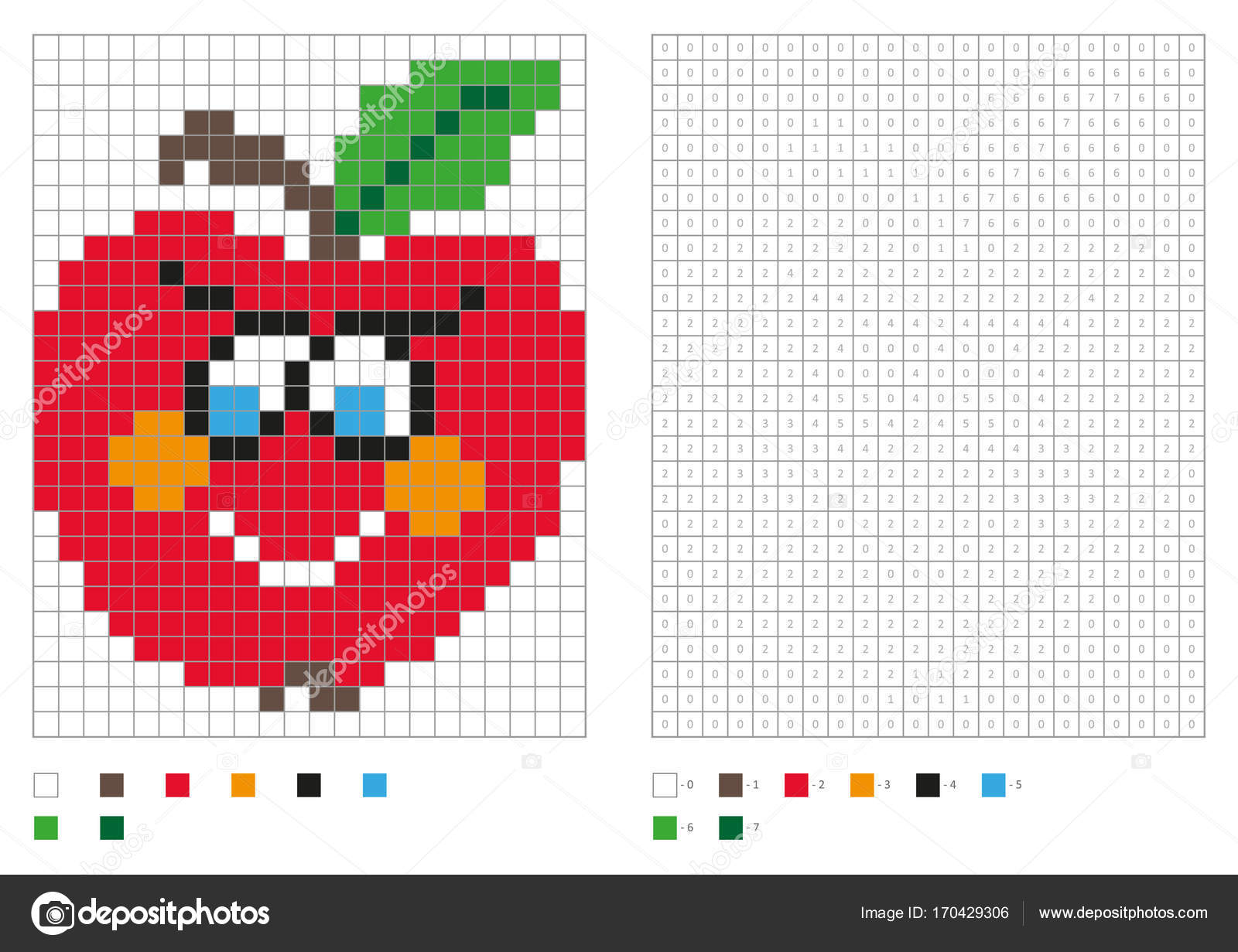 Kinder Malvorlagen Pixel Farbung Mit Lustigen Apfel Vektor