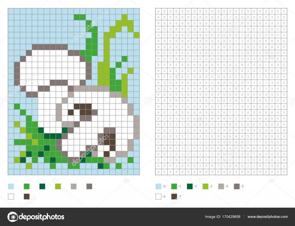Kinder Malvorlagen, Pixel färben mit Pilzen — Stockvektor © aglia83 ...