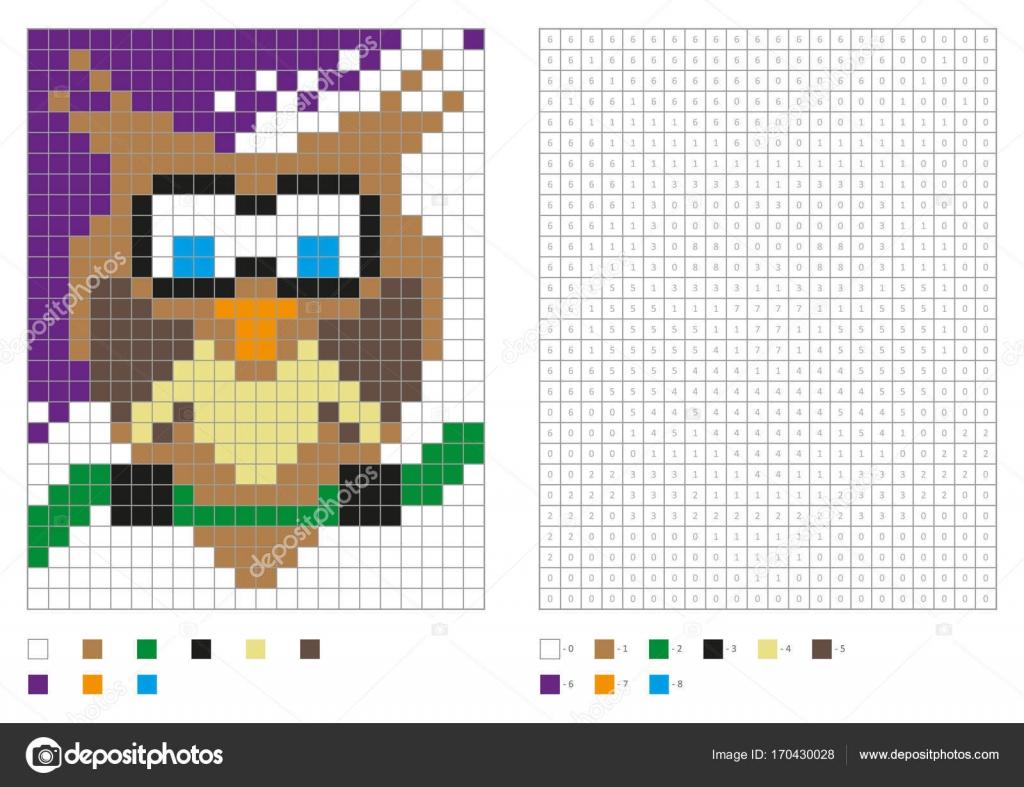 Kinder Malvorlagen, Pixel Färbung mit Spaß Vogel — Stockvektor ...