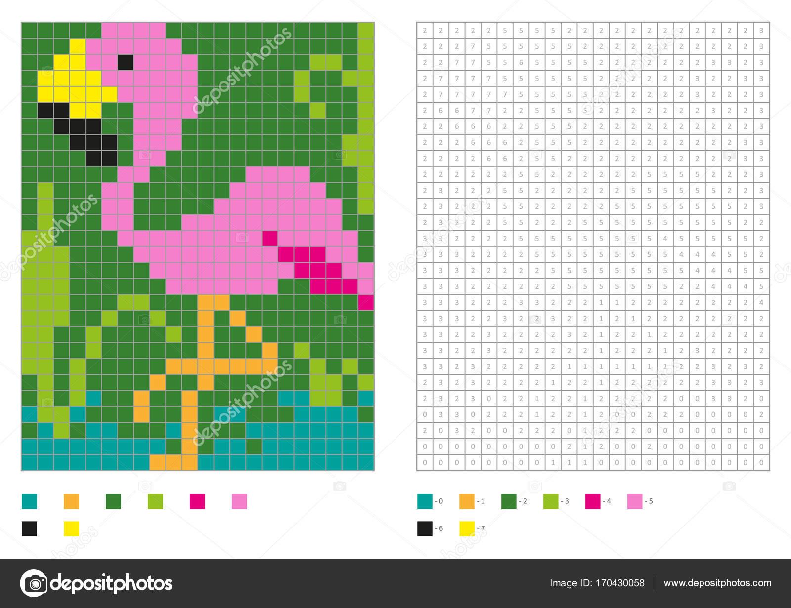 Niños para colorear página de pixel para colorear con diversión aves ...