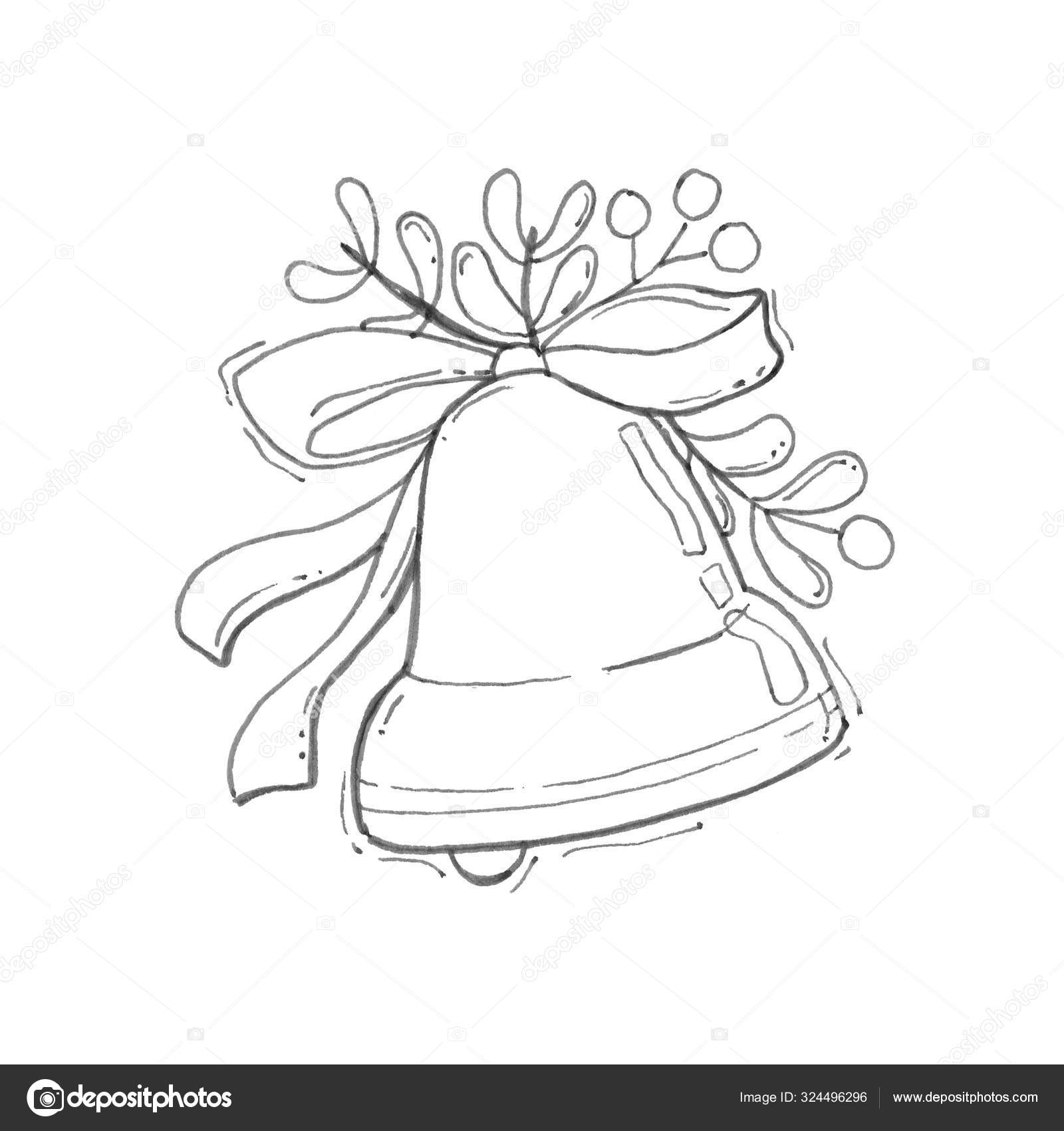 Jingle Bell Merry Christmas Coloring Page Black White Background Coloring Stock Photo Image By C Aglia83 324496296