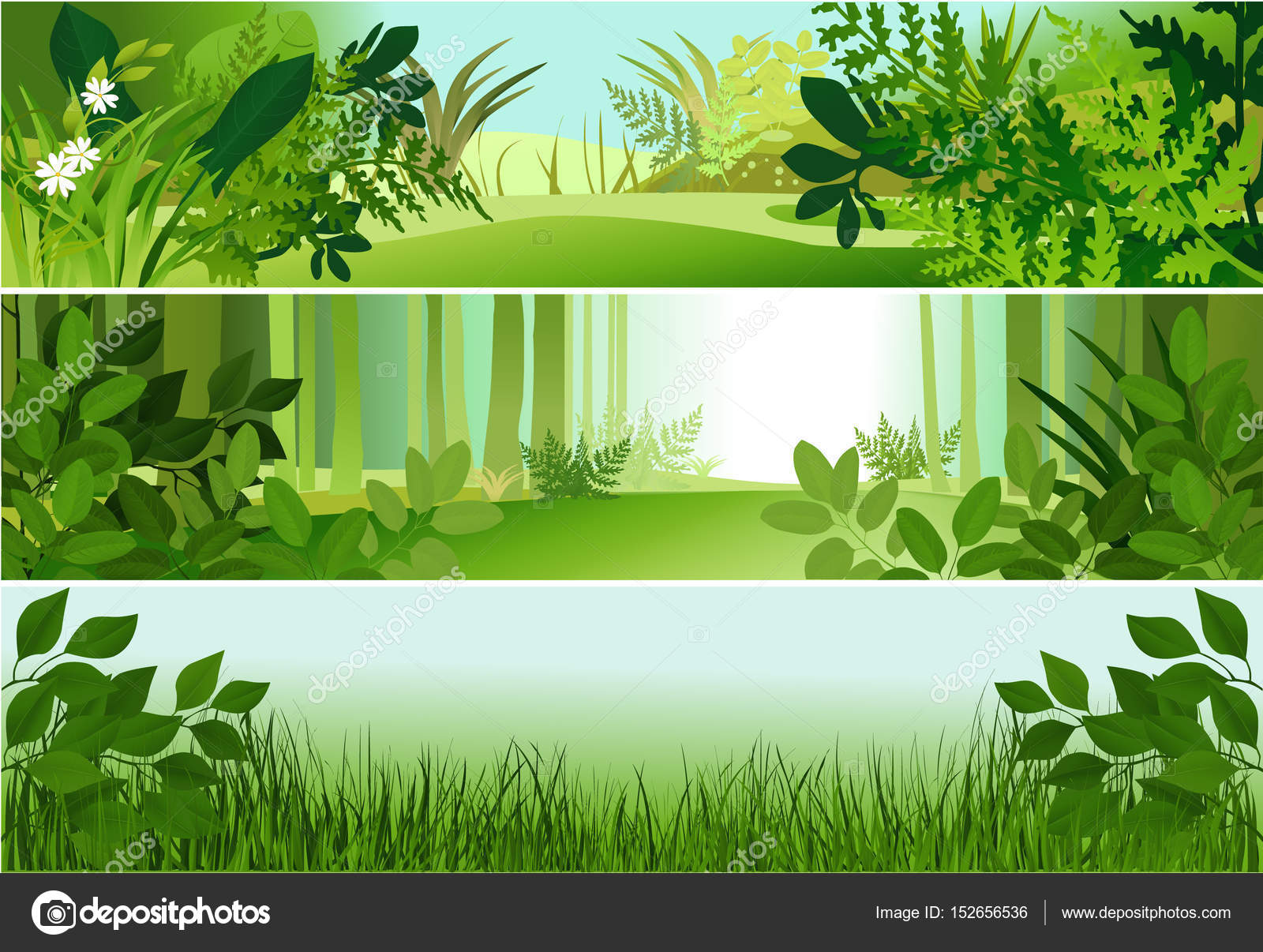 three forest banners stock vector agnieszka 152656536