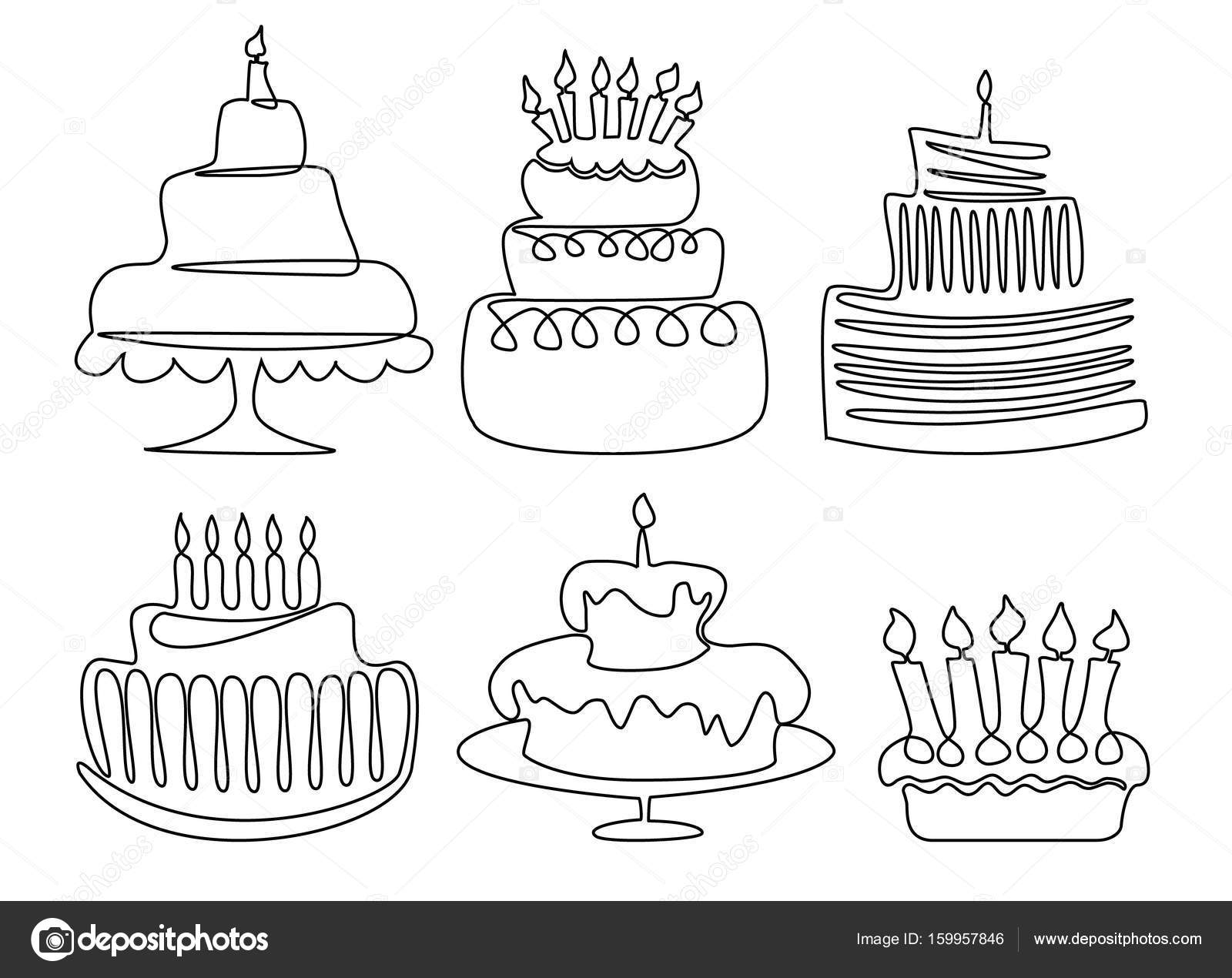 Birthday Cake Drawing Stock Vector Agnieszka 159957846