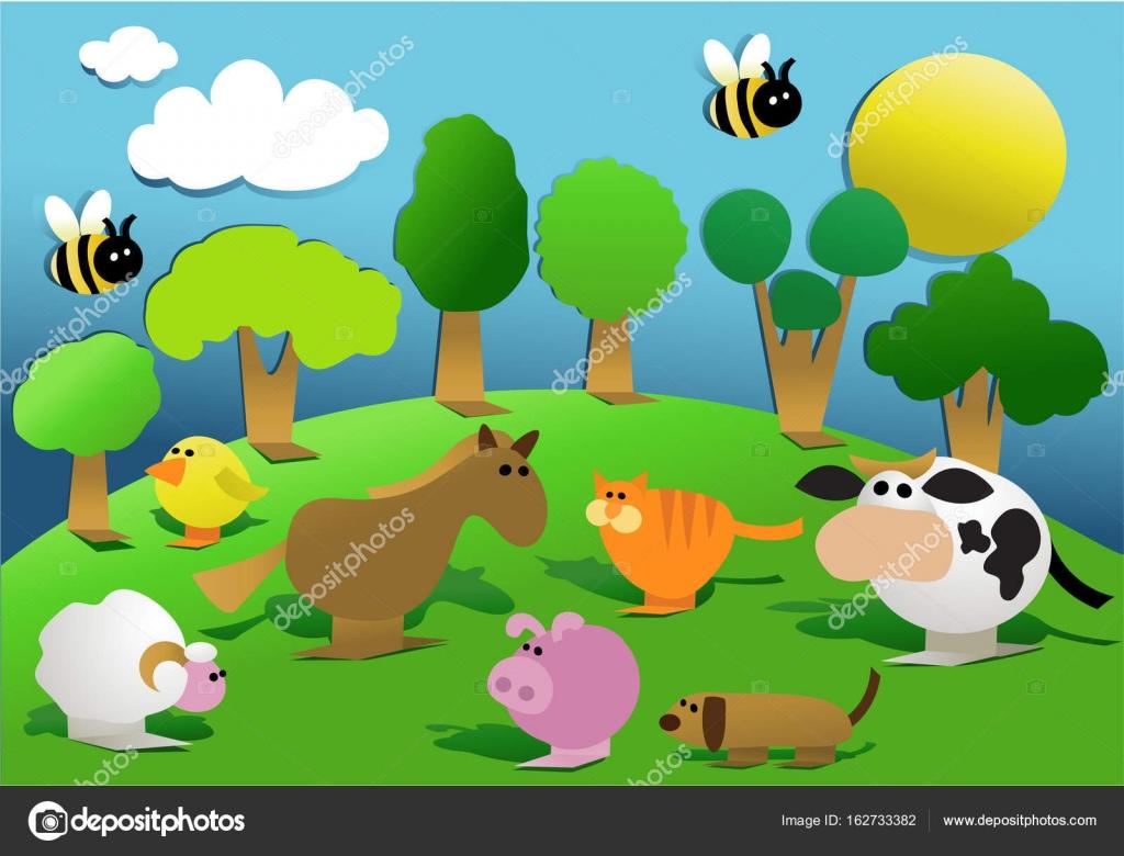 Inglese da animali della bambini alla animali di fattoria e nome