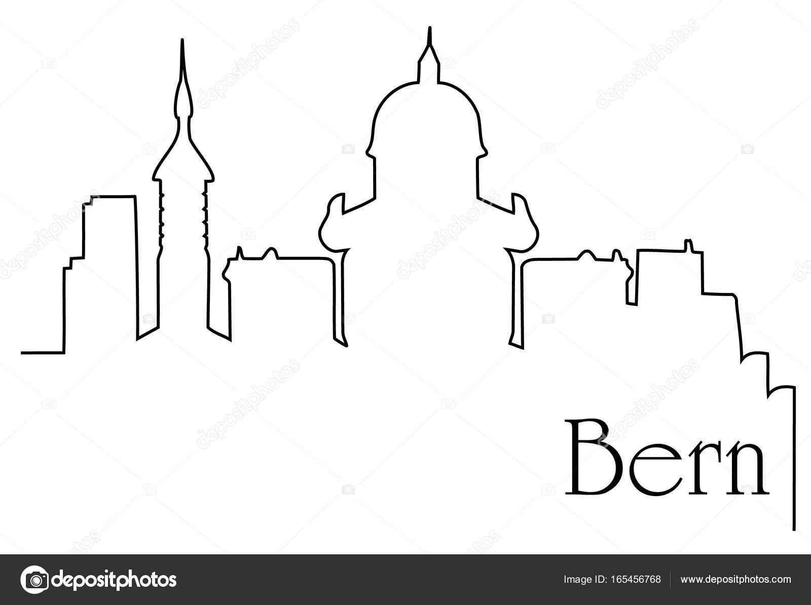 Bern Stadt eine Strichzeichnung Hintergrund — Stockvektor ...