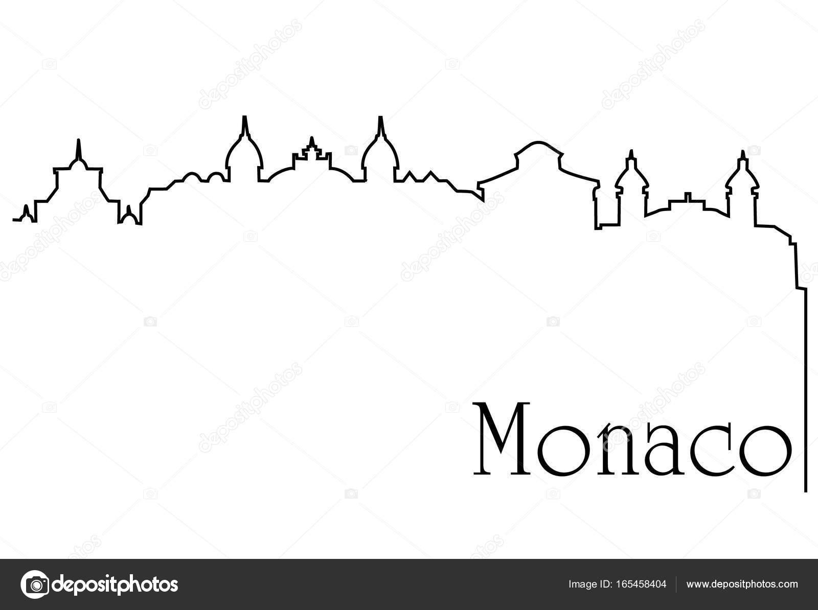 Monaco Stadt eine Strichzeichnung Hintergrund — Stockvektor ...