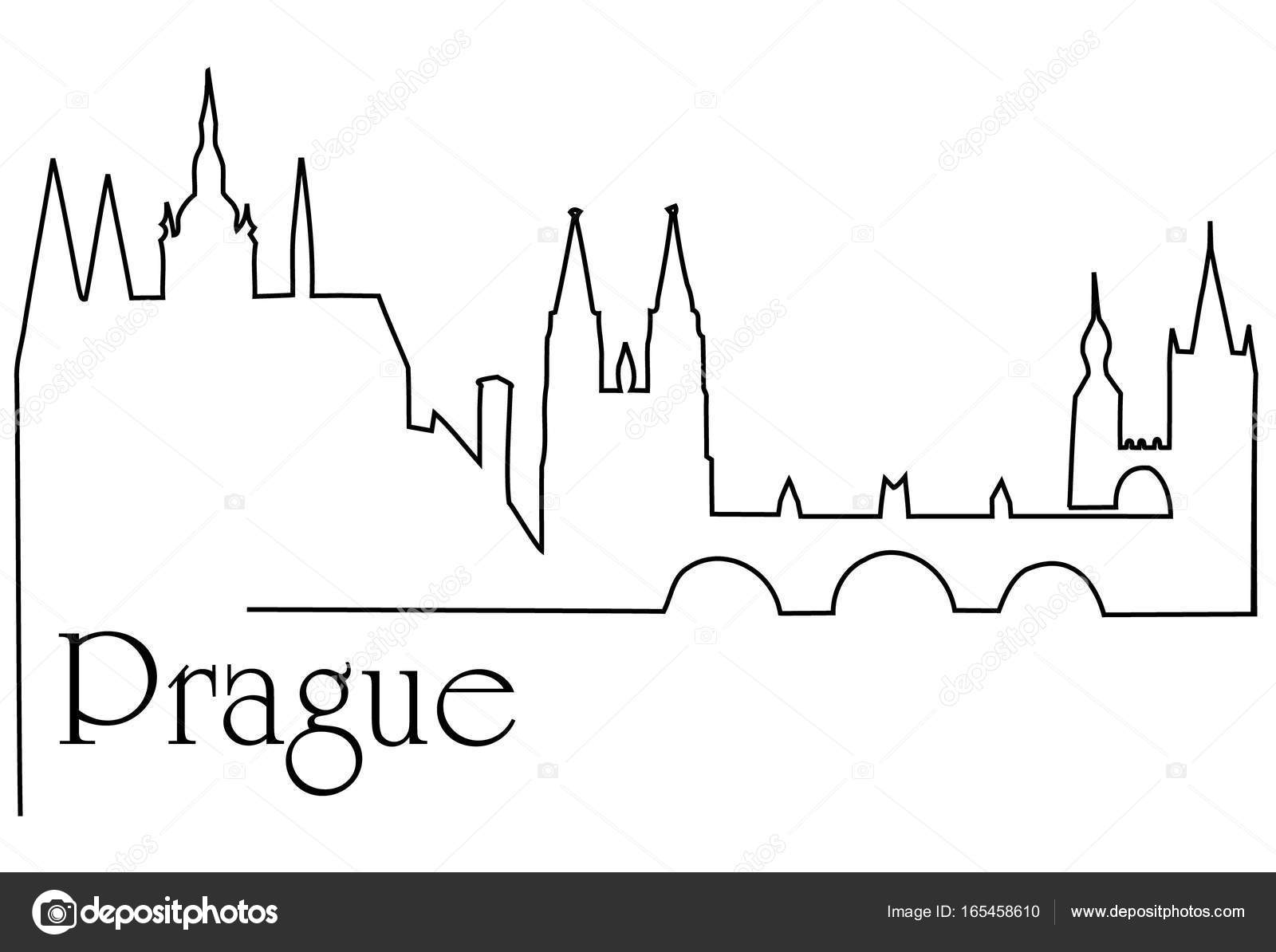 Prague City One Line Drawing Background