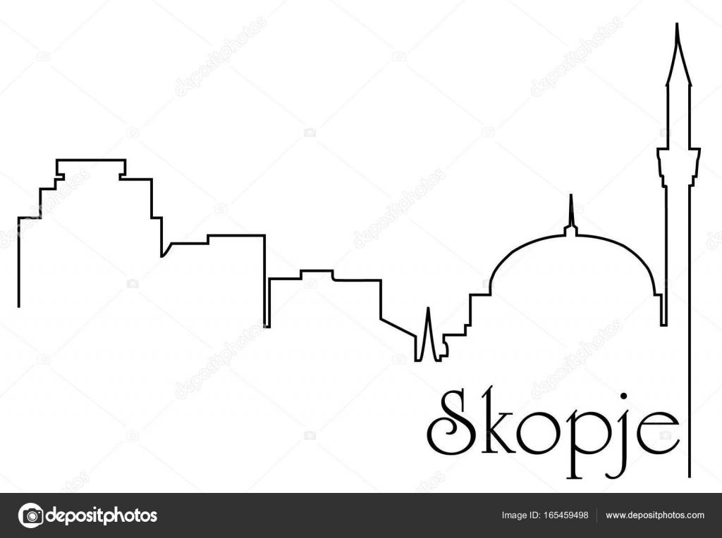 Skopje Stadt eine Strichzeichnung Hintergrund — Stockvektor ...