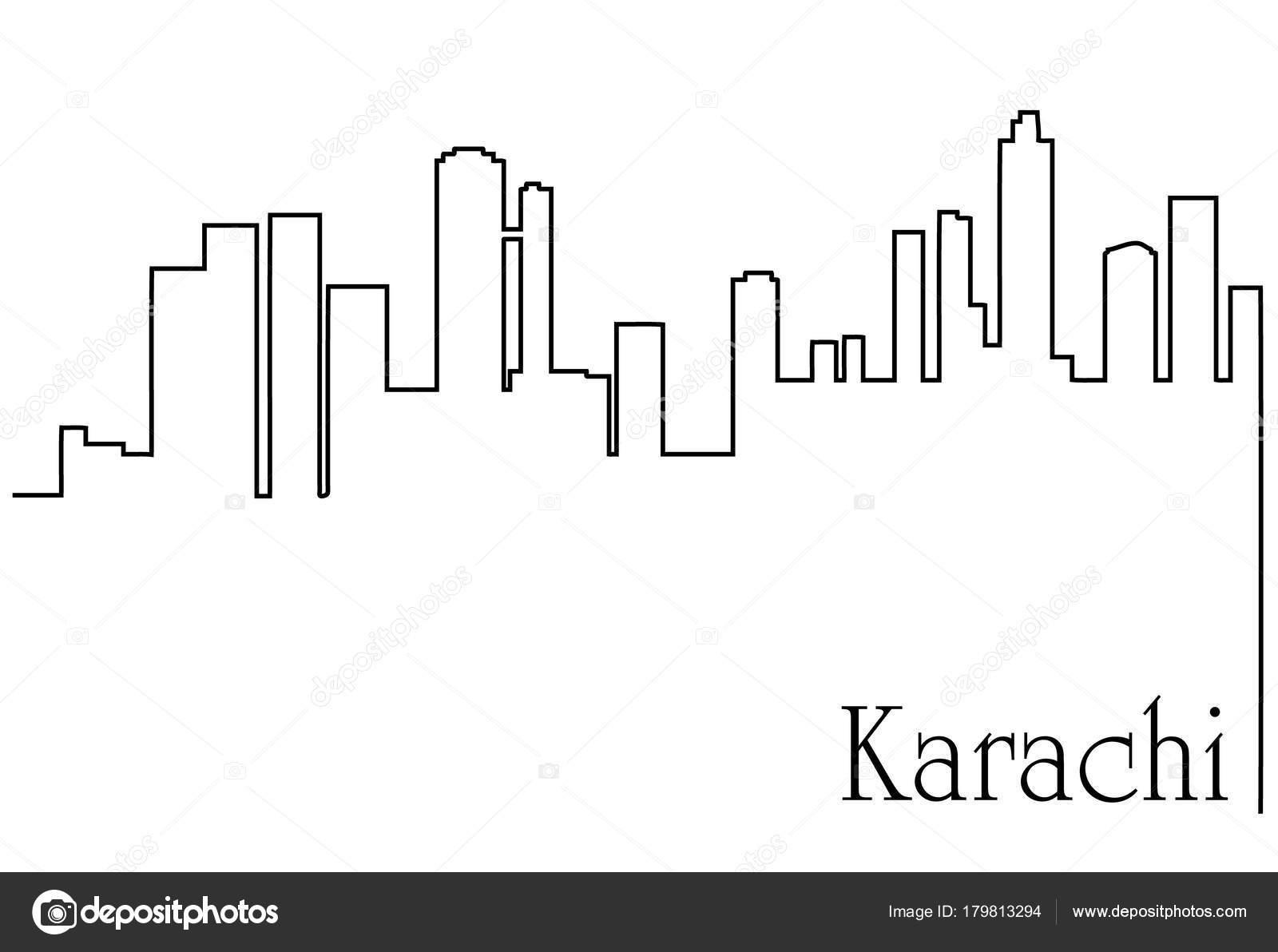 Astratto Sfondo Pallavolo Disegno Vettoriale: Sfondo Astratto Con Disegno Città Karachi Con Paesaggio