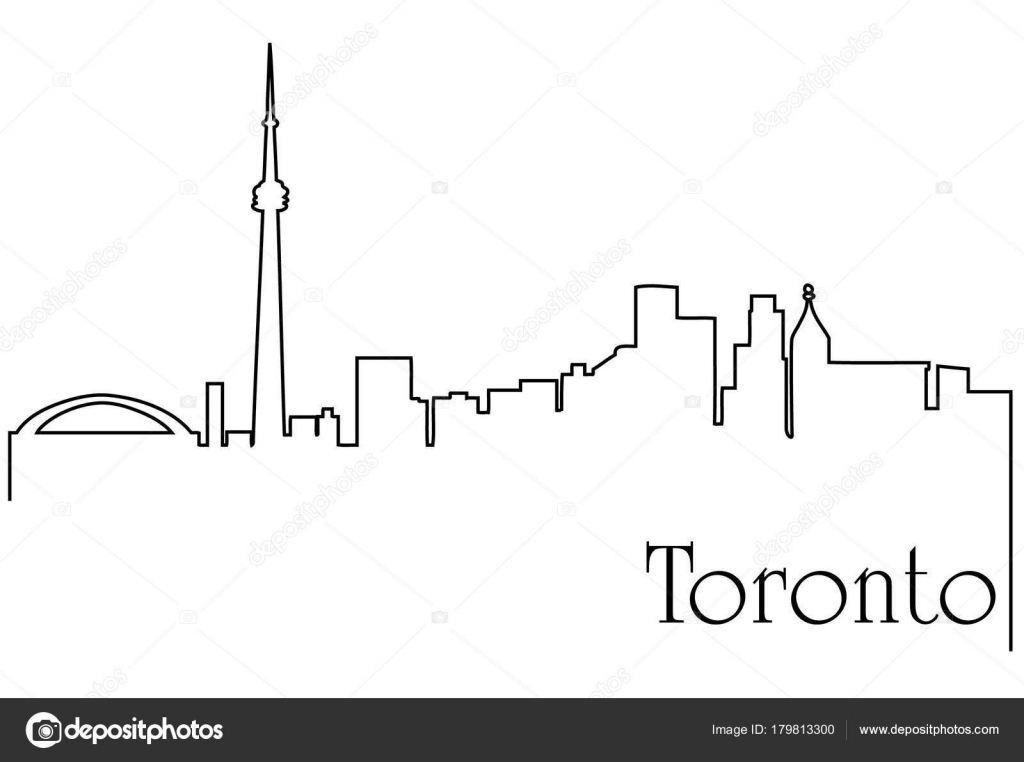 Astratto Sfondo Pallavolo Disegno Vettoriale: Sfondo Astratto Con Disegno Città Toronto Con Paesaggio