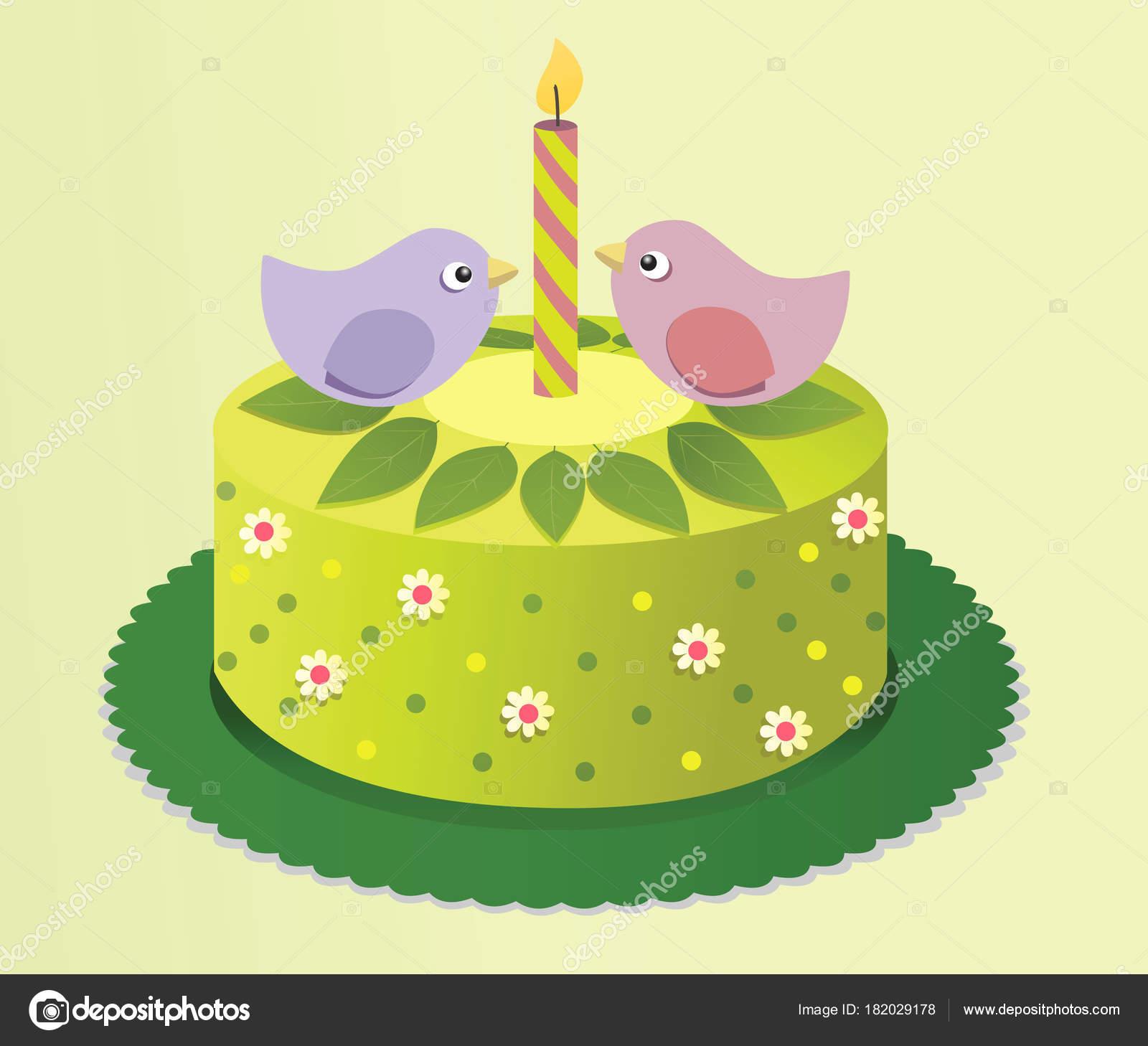 Spring Birthday Cake Sweet Birds Stock Vector agnieszka 182029178