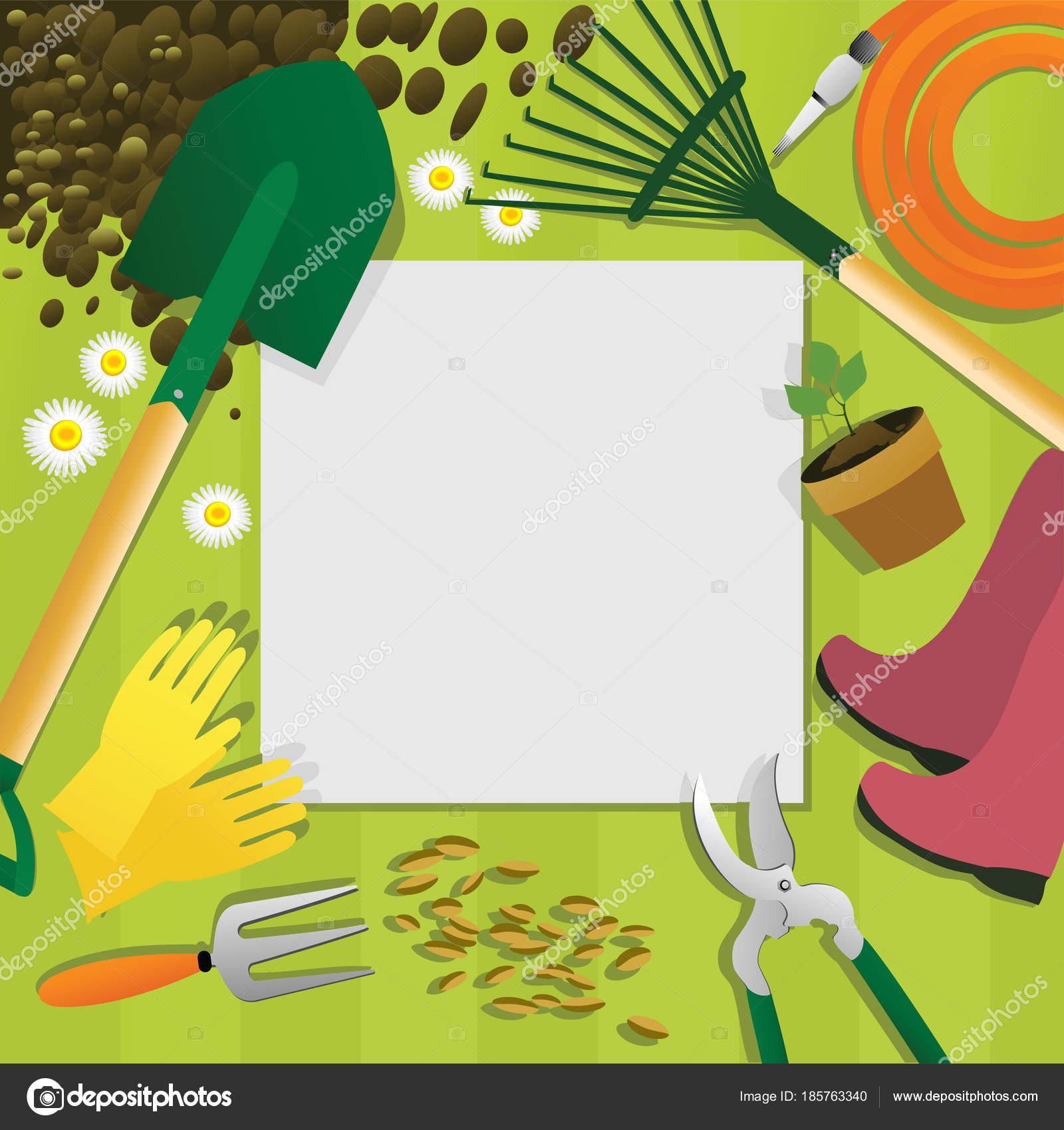 Fond Jardinage Avec Les Outils Jardin — Image vectorielle agnieszka ...