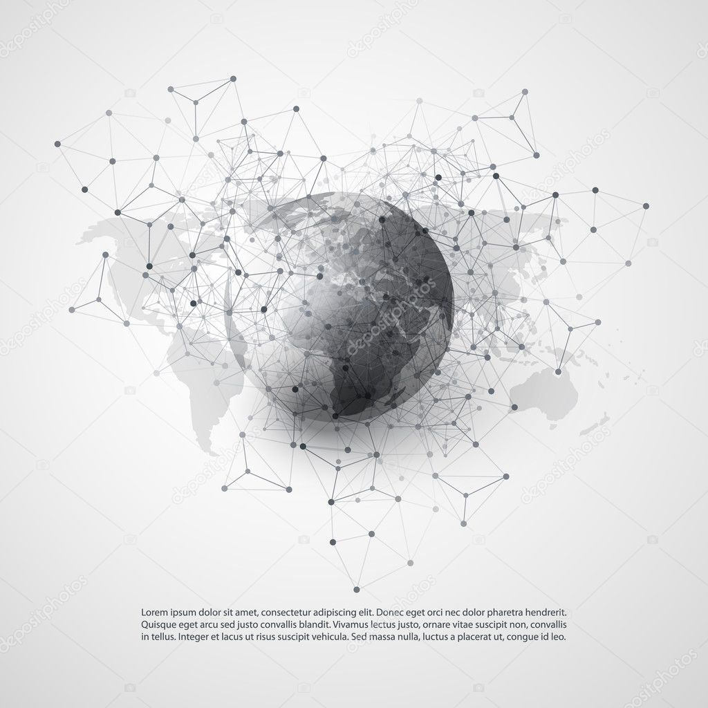 Cloud computing and networks with world map abstract global abstract black and white modern cloud computing and global digital network connections it or technology concept illustration in editable vector format gumiabroncs Image collections