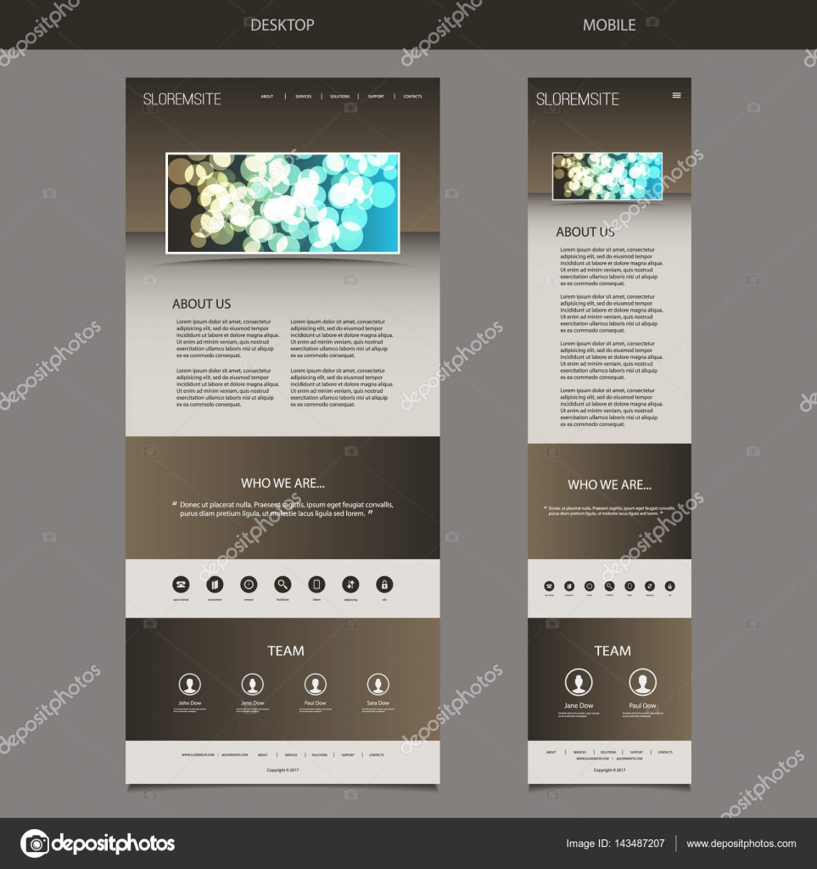 Ansprechende One Page Website Vorlage mit unscharfen Hintergrund ...