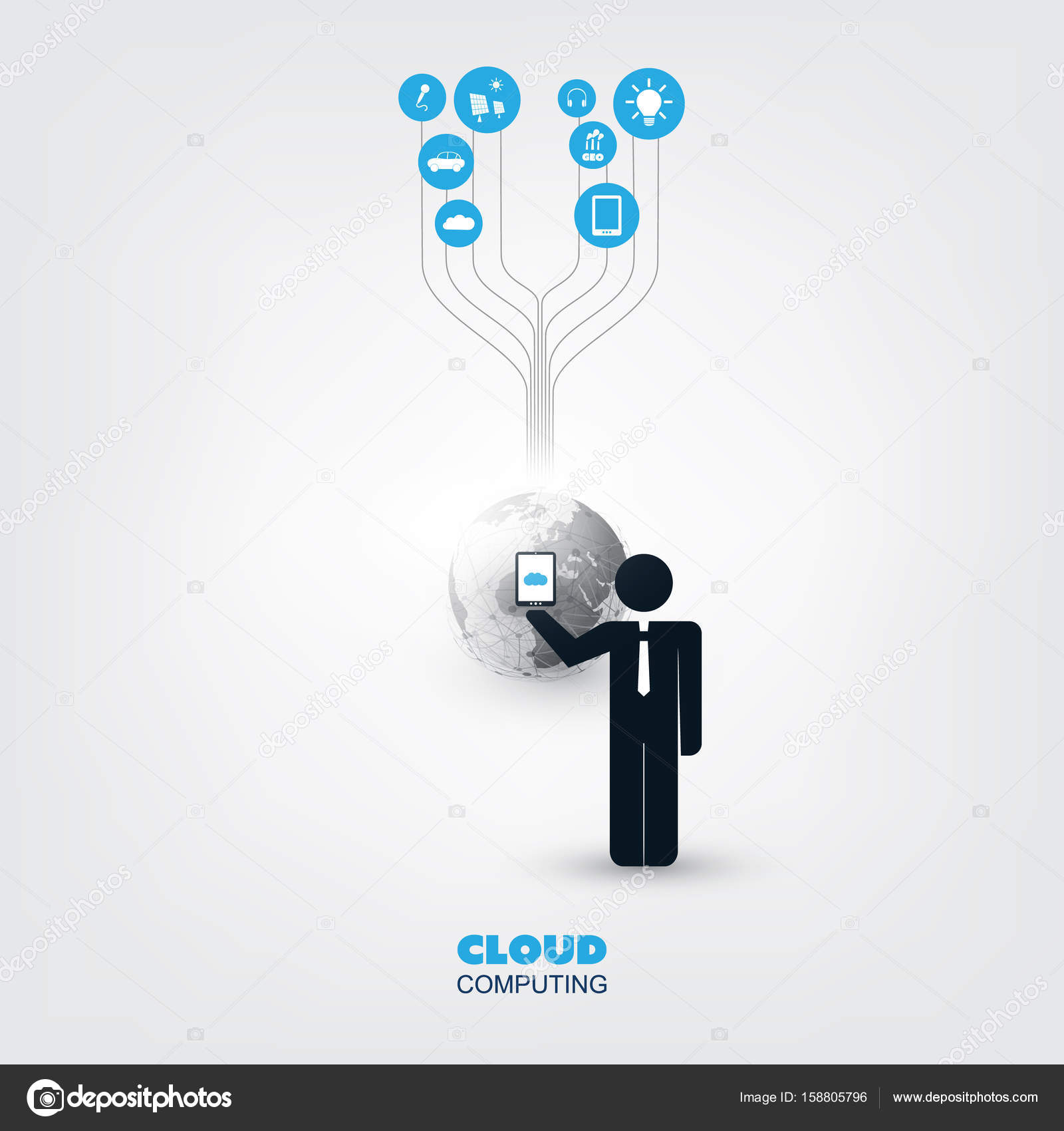 cloud computing business network design concept with a standing