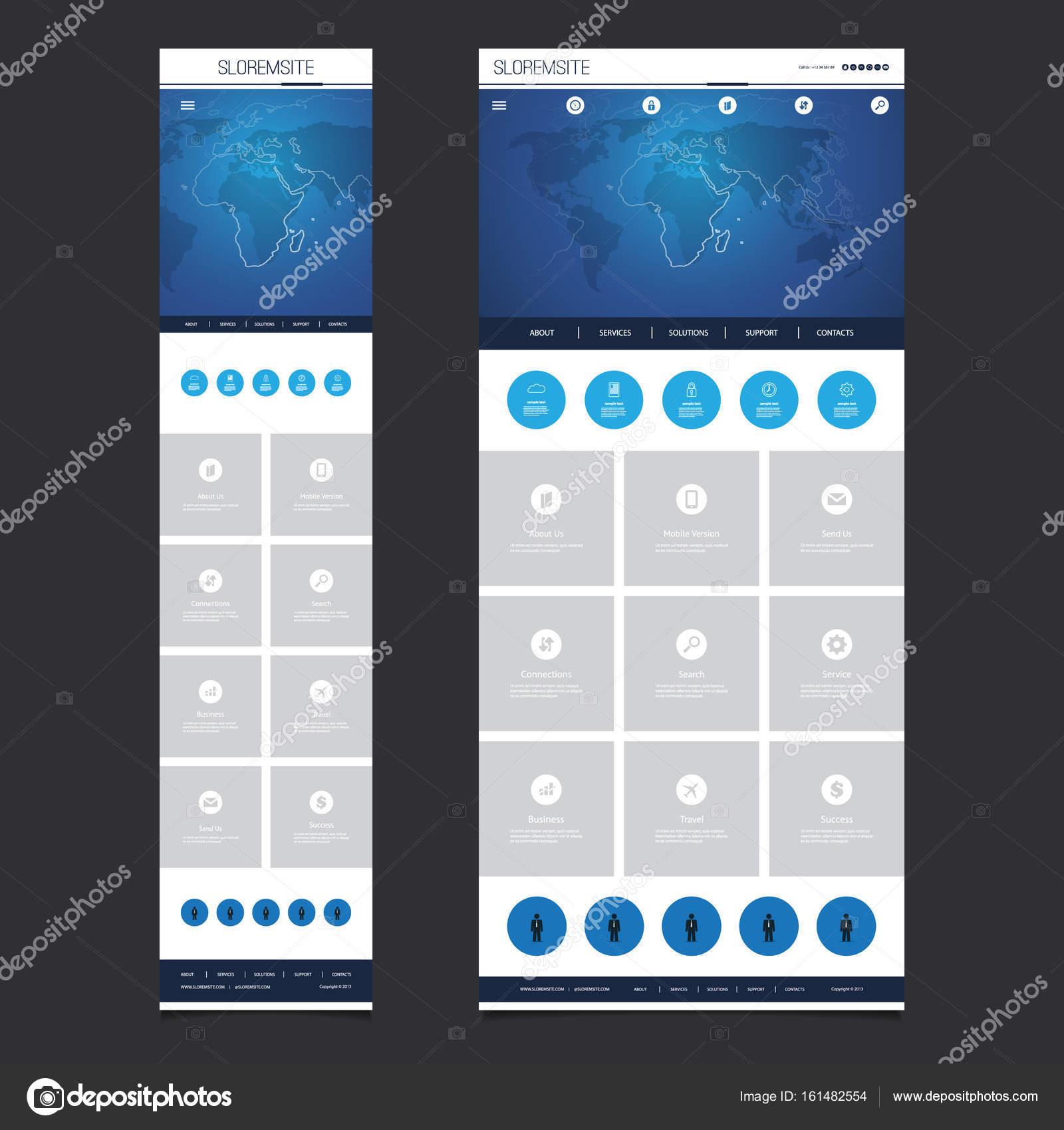 Ansprechende One Page Website Vorlage - Header Design mit Weltkarte ...
