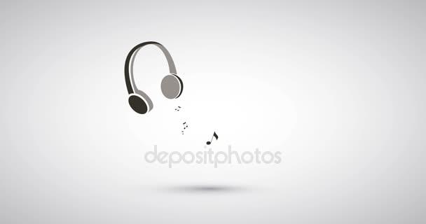 Note musicali che volano a cuffie - bianco e nero musica ascolto concetto animazione