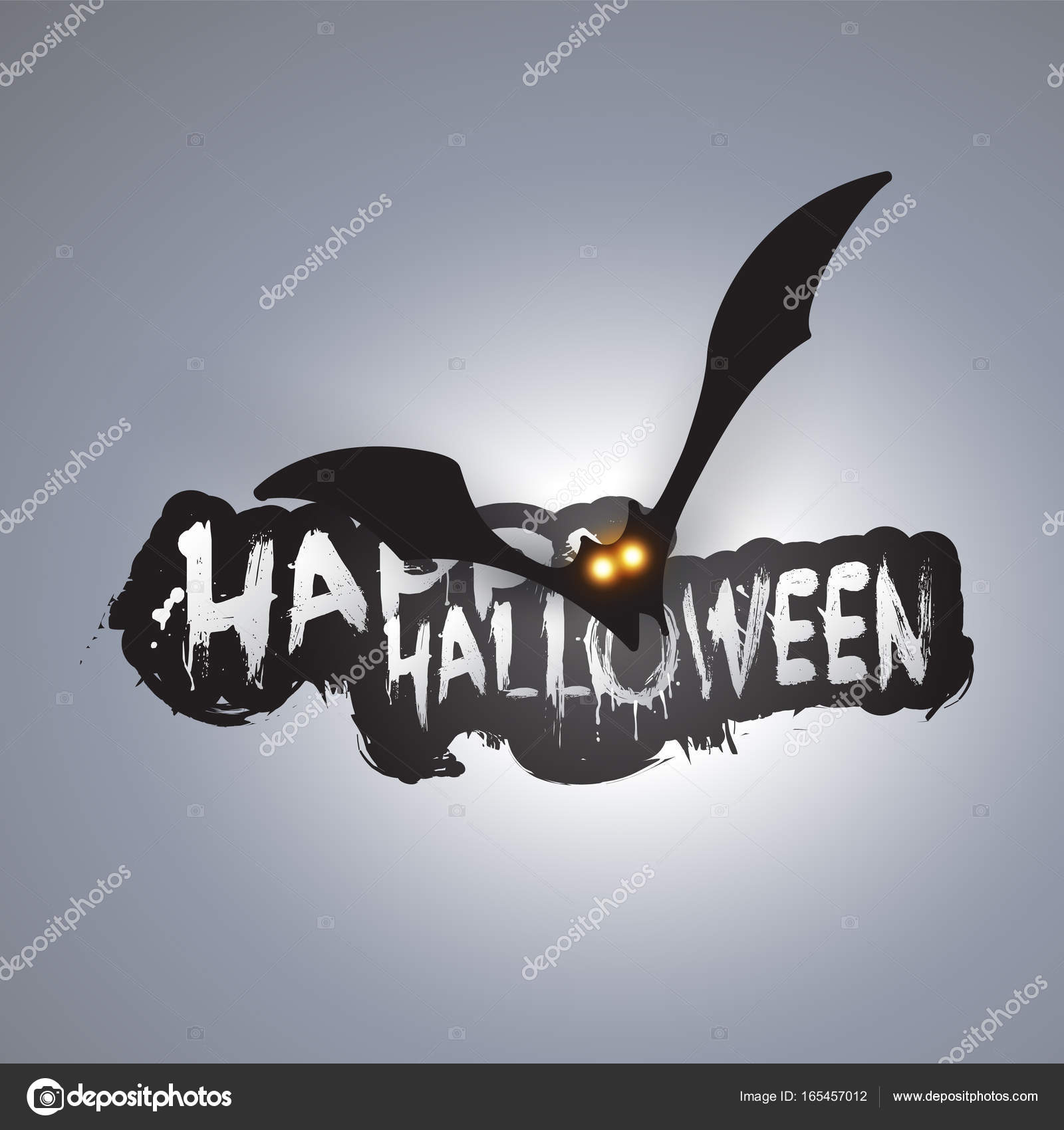 happy halloween card template flying bat with glowing eyes stock
