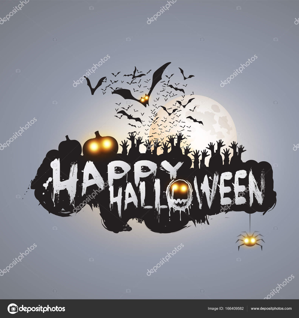 happy halloween card template hands flying bats pumpkin and