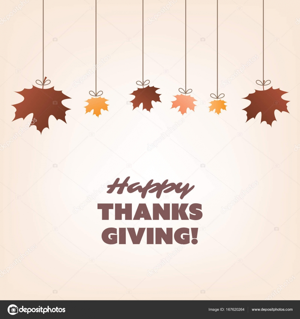 happy thanksgiving card design template with autumn leaves stock