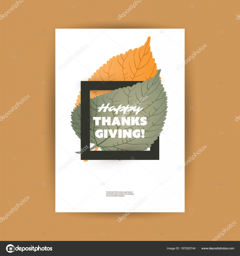 Happy thanksgiving card or flyer design template with autumn leaves happy thanksgiving card or flyer design template with autumn leaves stock vector kristyandbryce Choice Image