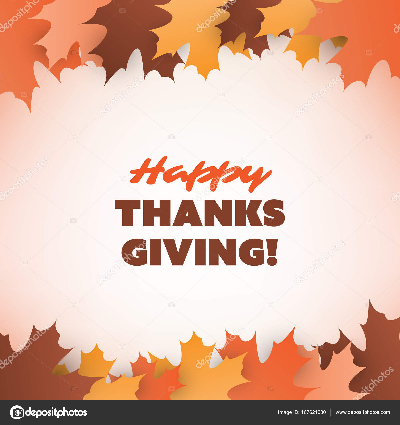 Happy Thanksgiving Card Design Template With Fallen Autumn Leaves - Thanksgiving card template