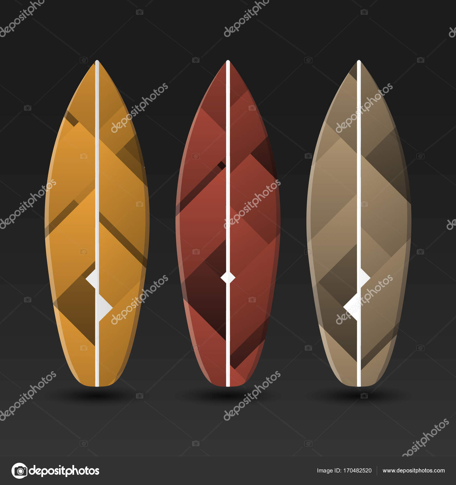 Vector Surfboards Design With Abstract Colorful Pattern Stock