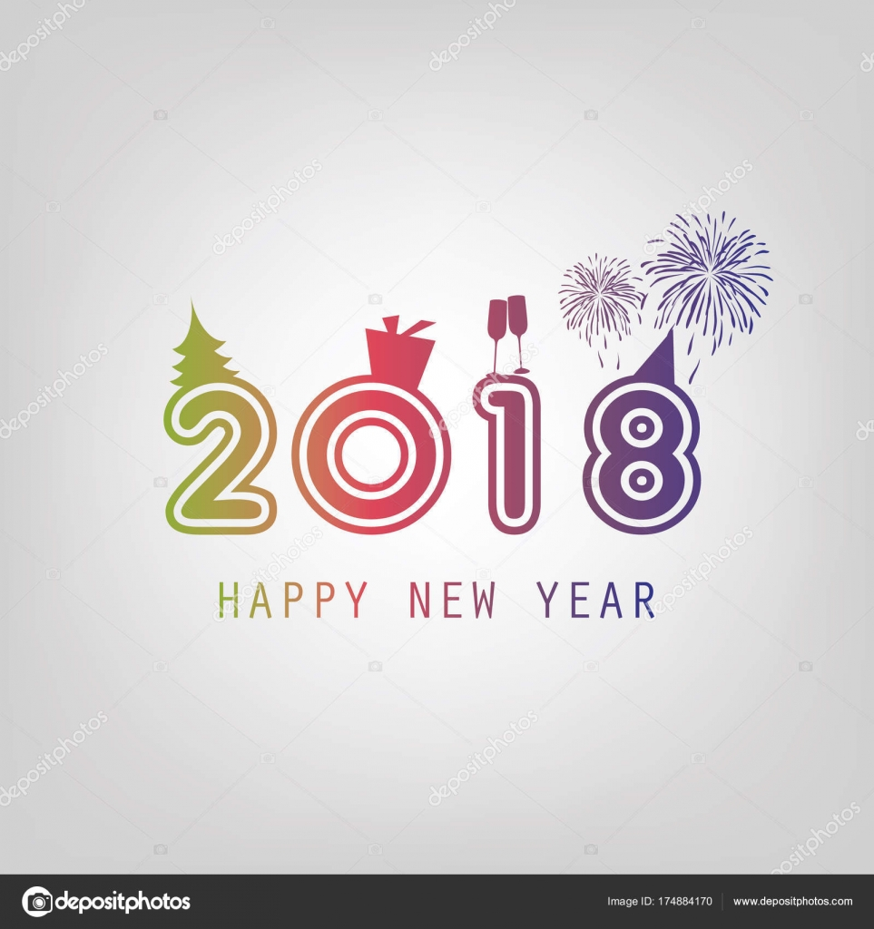 Best Wishes New Year Card Background Template 2018 — Stock Vector ...