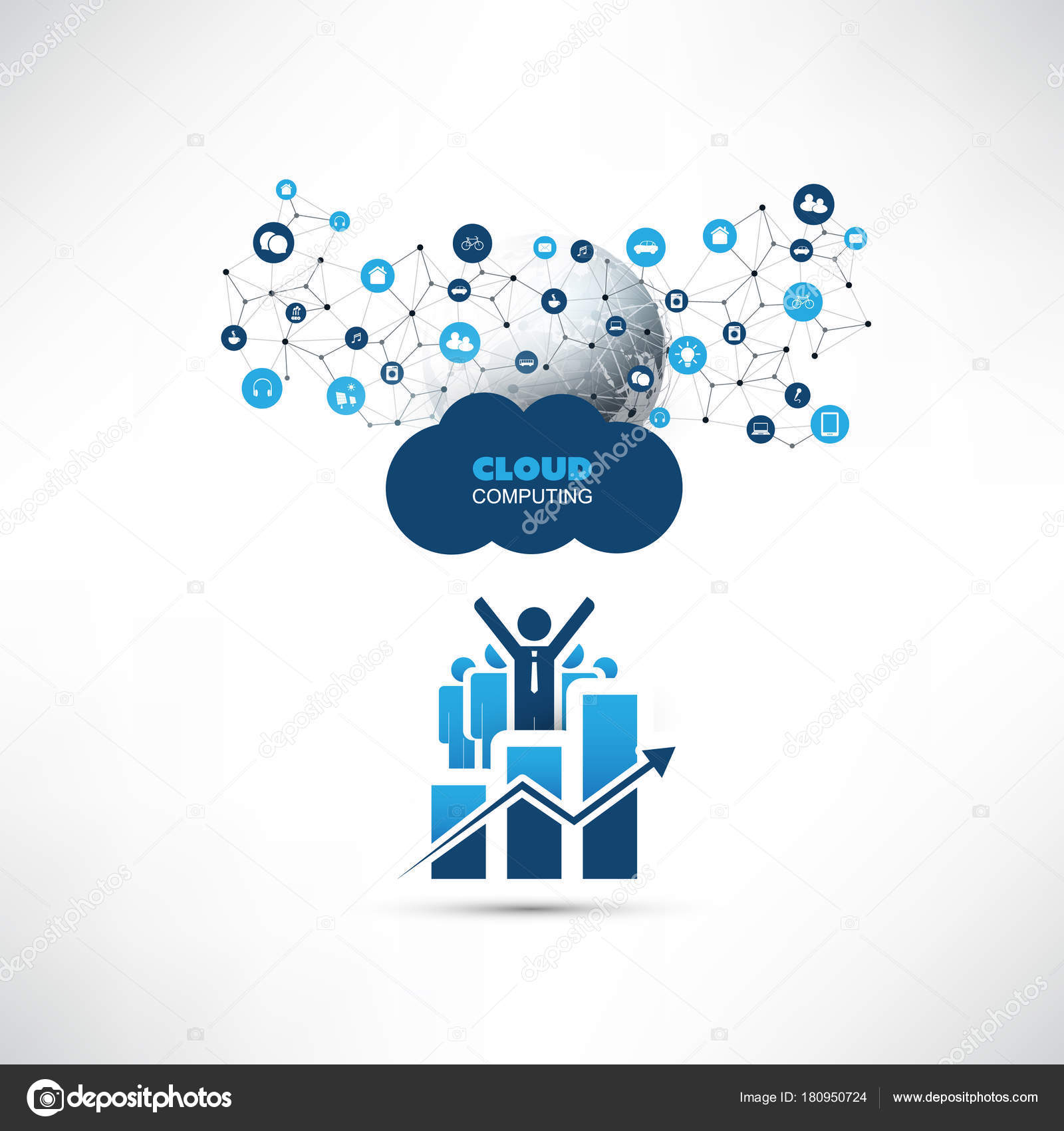 Cloud computing design concept with happy businessmen chart and abstract cloud computingnetwork connections online business management digital data exchange cooperation it or technology concept background or cover gumiabroncs Gallery