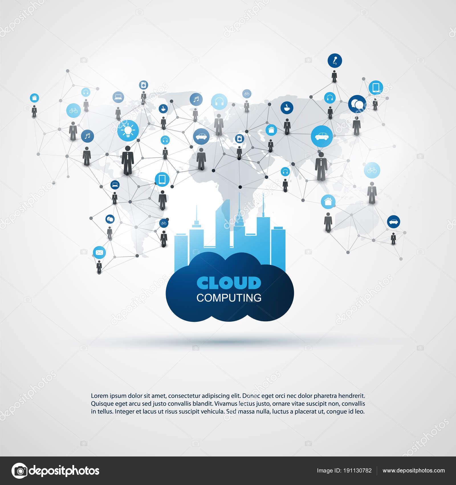 Cloud Computing Und Smart City Design Konzept Digital Und