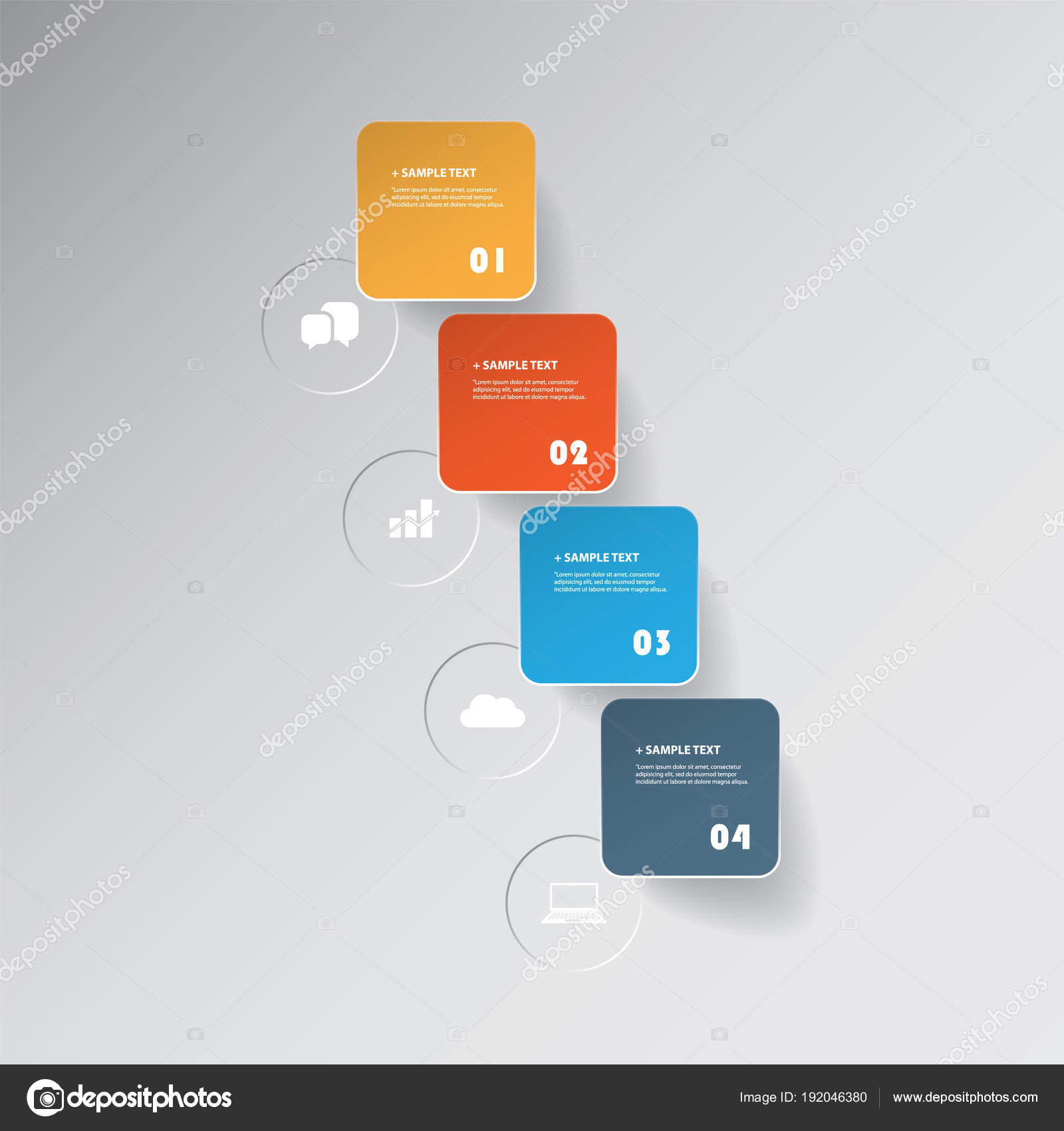 図形、ラウンド四角や丸のアイコン、カット スタイル インフォ
