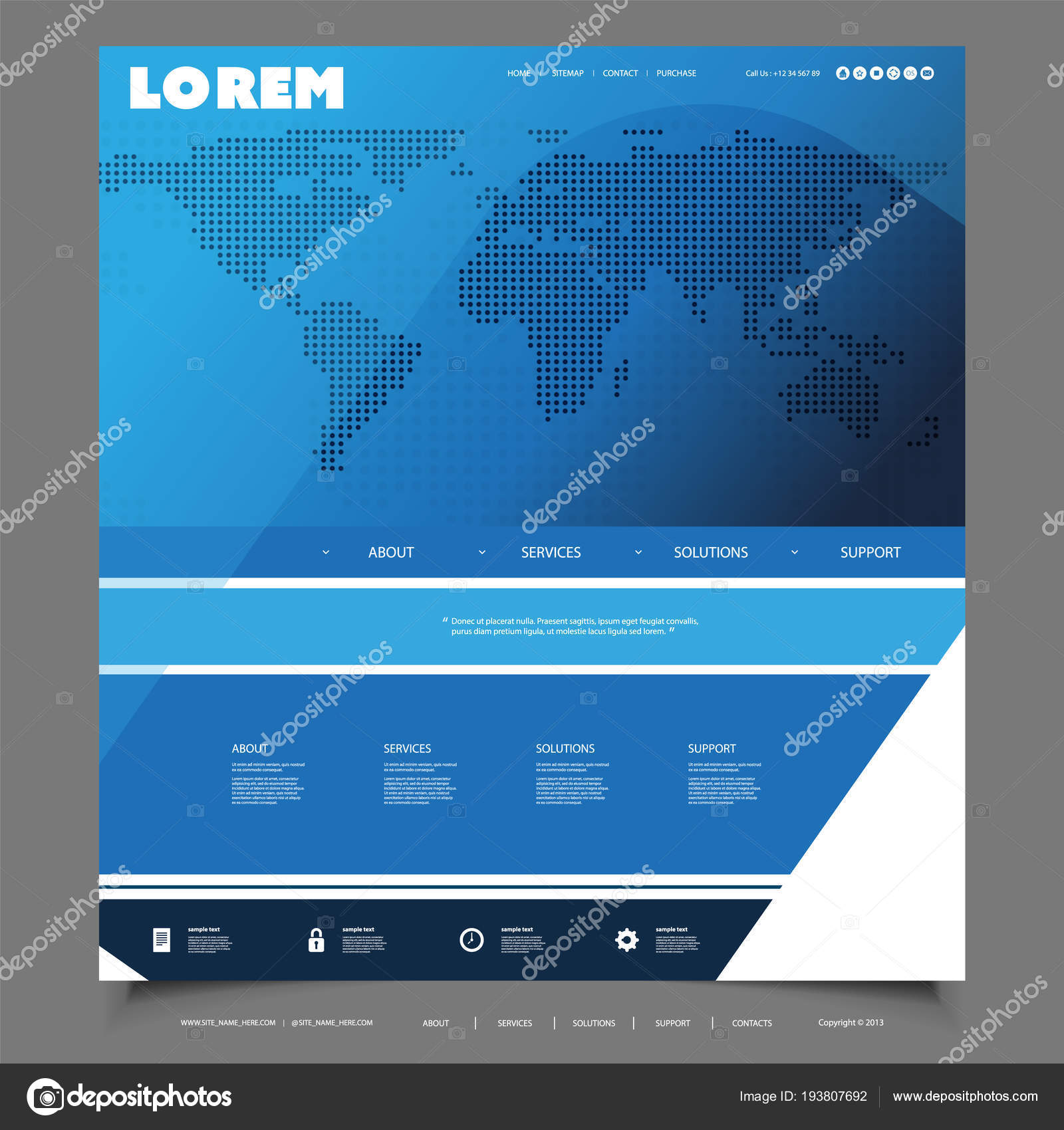Global Business, Technology - Website Template Design with