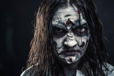 Portrait of horror zombie woman