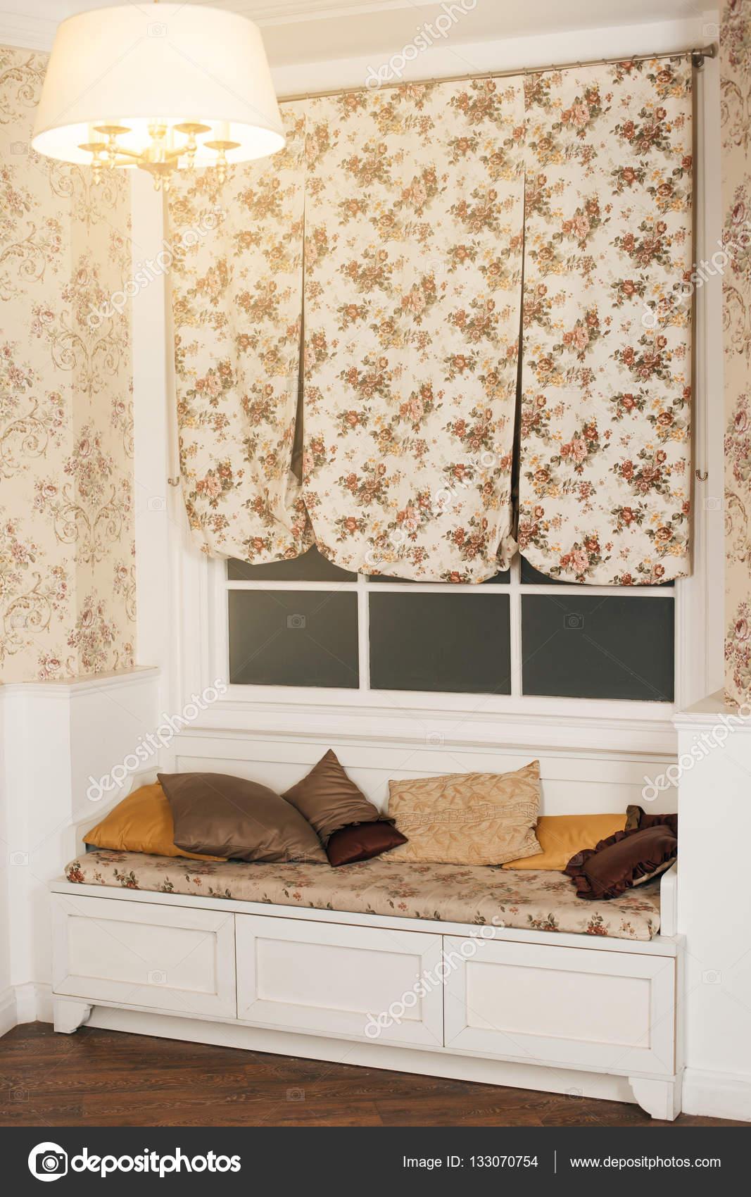 Divano Sotto La Finestra.Sofa With Pillows Under Big Window Stock Photo C Nomadsoul1
