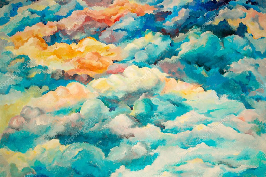 painted bright watercolor clouds
