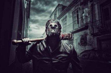 Psycho man in hockey mask