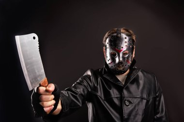 Bloody murderer with meat cleaver