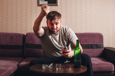 angry drunk man in depression