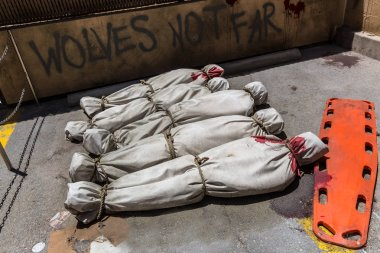 Bloodied bodies wrapped in bags