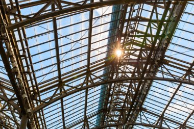 metal construction with glass roof