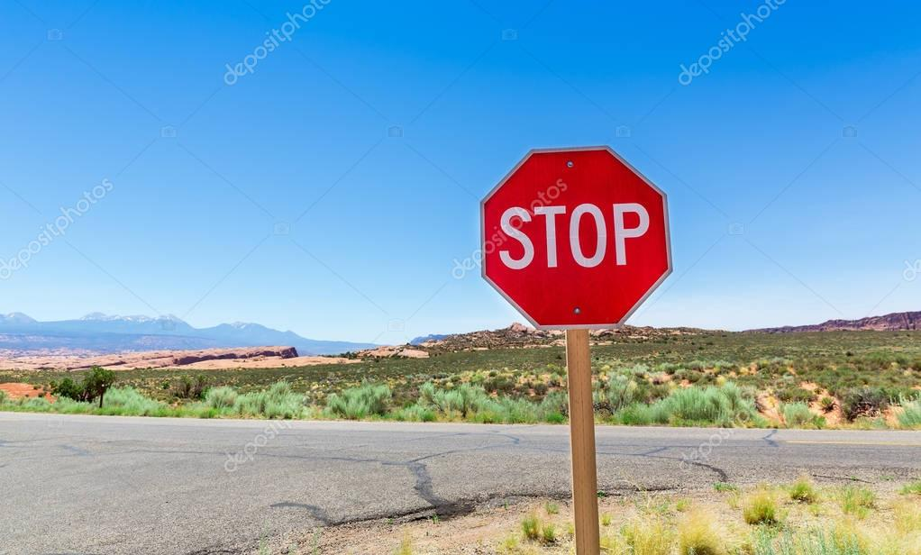 Stop sign on valley road