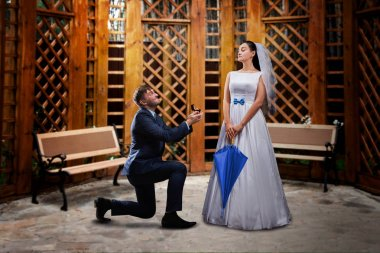 groom making proposal to bride