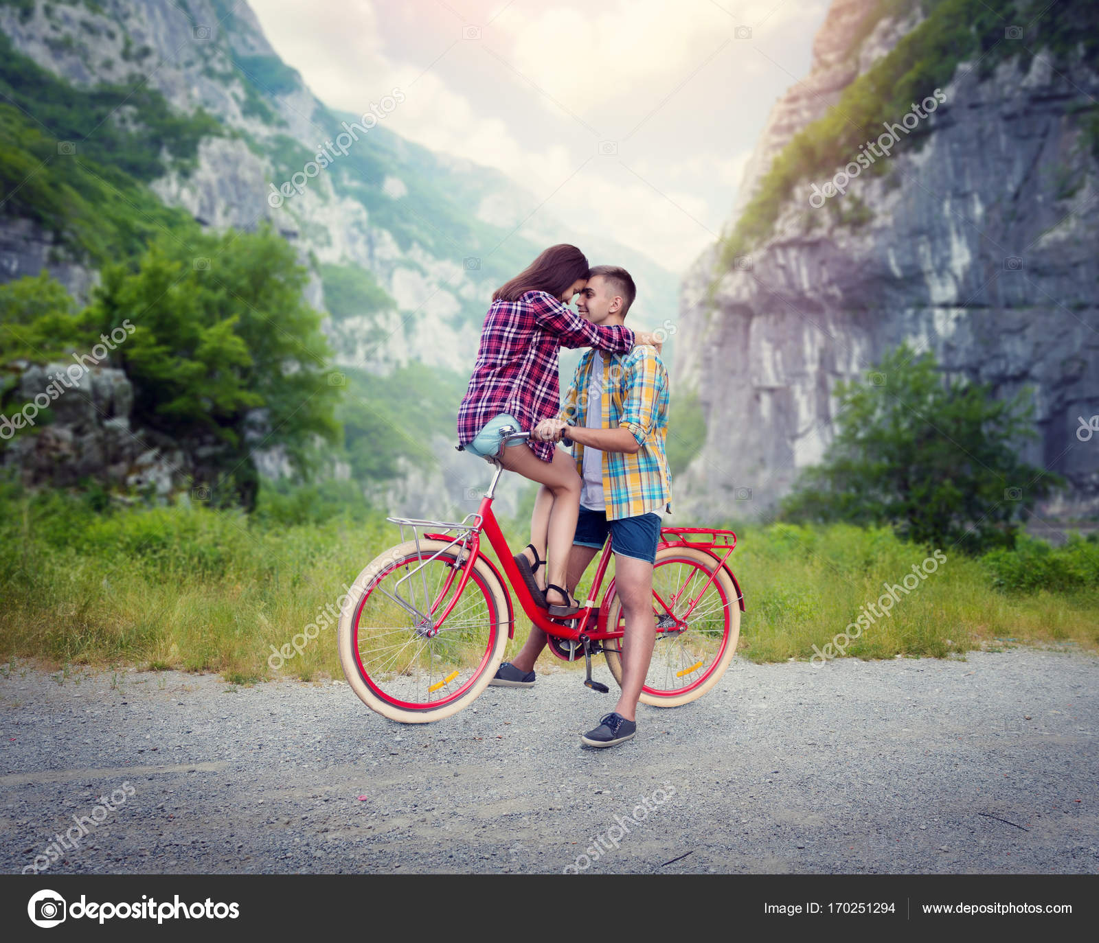 Happy Love Couple On Vintage Bicycle Stock Photo Nomadsoul1
