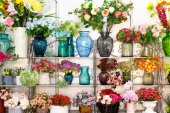 flower bouquets on shelves