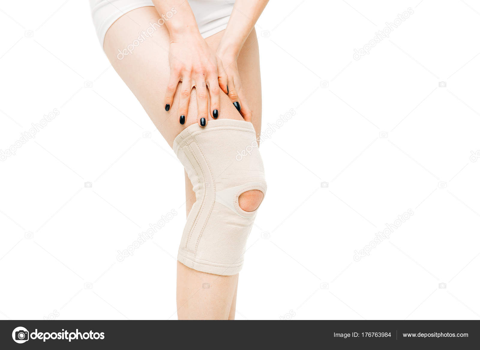 Joint Ache Woman Elastic Bandage Isolated White Background Knee