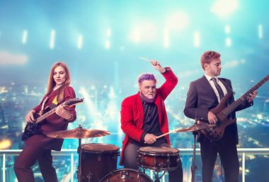 musicians on stage with lights, retro style, guitarists and drummer, rock band, night cityscape on background.