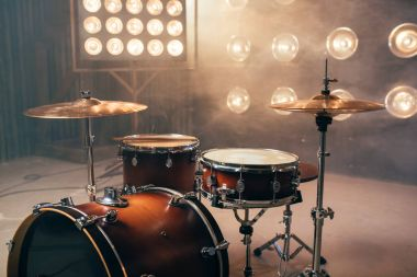 drum-set, percussion instrument, drumkit on the stage with lights