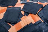 Fényképek anyag vágási ruhák. Varrás sablon, gyári ruha