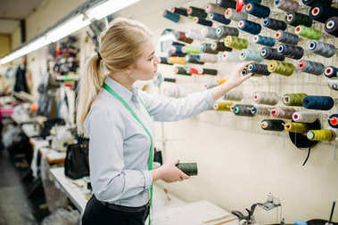 clothes designer choosing color threads, manufacture on sewing factory